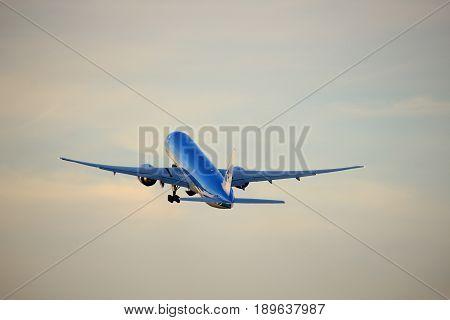 Amsterdam the Netherlands - June 1st 2017: PH-BVS KLM Royal Dutch Airlines Boeing 777-300 taking off from Polderbaan Runway Amsterdam Airport Schiphol