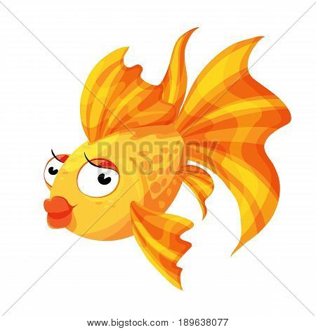 Vector illustration of a goldfish. With a fluffy tail for postcards icons children's books.