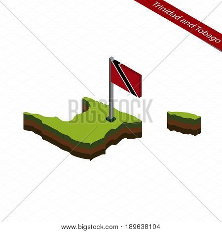 Trinidad And Tobago Isometric Map And Flag. Vector Illustration.