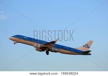 Amsterdam the Netherlands - June 1st 2017: PH-EXB KLM Cityhopper Embraer ERJ-190STD taking off from Polderbaan Runway Amsterdam Airport Schiphol