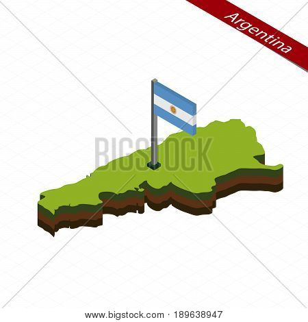 Argentina Isometric Map And Flag. Vector Illustration.
