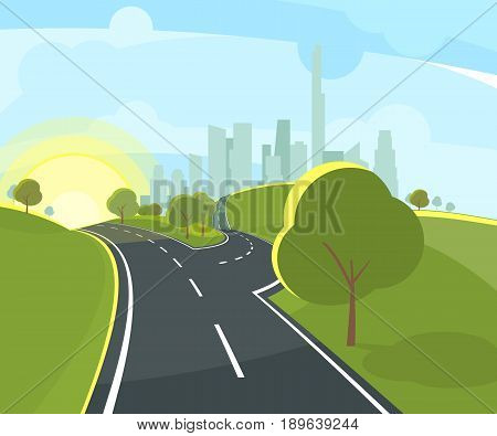 Vector illustration of panoramic urban landscape with highway in perspective and funny environment. Panoramic landscape with road