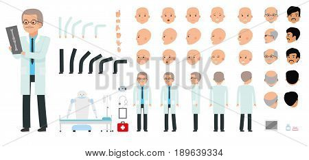 Man character creation set. The pediatrician, physician, medic, doctor. Icons with different types of faces, emotions, front, rear side. Cartoon flat-style infographic illustration
