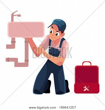 Plumbing specialist with wrench and toolbox repairing kitchen sink, bathroom wash basin, cartoon vector illustration isolated on white background. Plumber, plumbing specialist fixing kitchen sink