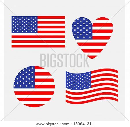 American flag icon set. Waving round heart shape. Happy Independence day sign symbol. Isolated. Whte background. Flat design element. Vector illustration