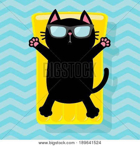 Black cat floating on yellow air pool water mattress. Cute cartoon relaxing character. Sunglasses. Summer time. Sea Ocean water with zigzag waves. Blue background. Flat design. Vector illustration