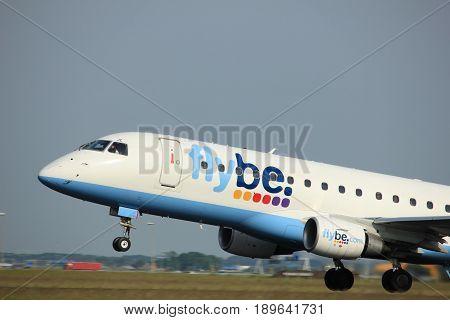 Amsterdam the Netherlands - June 2nd 2017: G-FBJC Flybe Embraer ERJ-175STD taking off from Polderbaan Runway Amsterdam Airport Schiphol