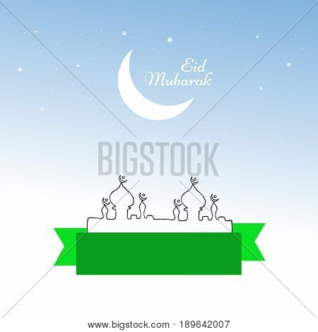 illustration of moon and mosques with Eid Mubarak text