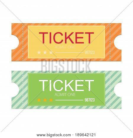Tickets icon. Flat design. Vector illustration set