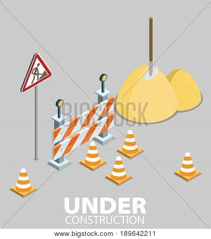 Road Repair, Under Construction Road Sign, Repairs, Maintenance And Construction Of Pavement. Flat V