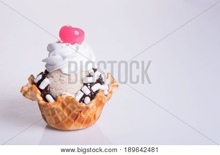 Ice Cream Scoop Or Chocolate Ice Cream Sundae.