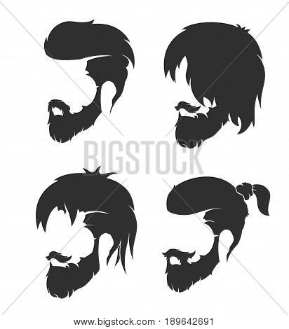 fashion illustration, hand graphics - mens hairstyle with a beard and mustache