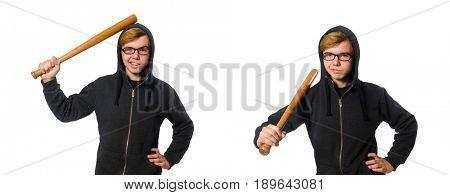 Aggressive man with baseball bat isolated on white