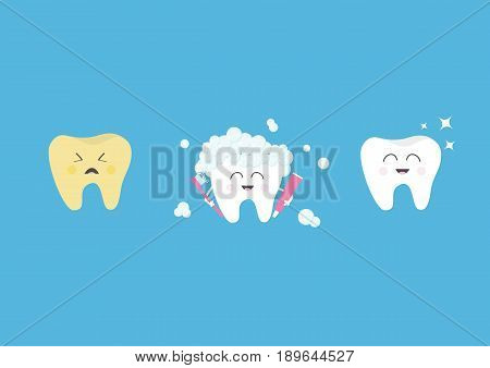 Healthy smiling white tooth icon. Crying bad ill yellow teeth. Toothbrush with toothpaste bubble foam. Before after concept. Cute character set. Oral dental hygiene. Baby background. Flat Vector