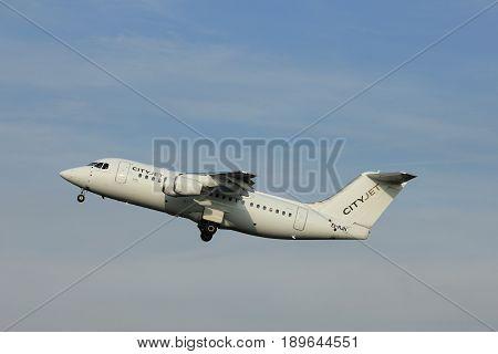 Amsterdam the Netherlands - June 2nd 2017: EI-RJN Cityjet British Aerospace Avro RJ85 taking off from Polderbaan Runway Amsterdam Airport Schiphol