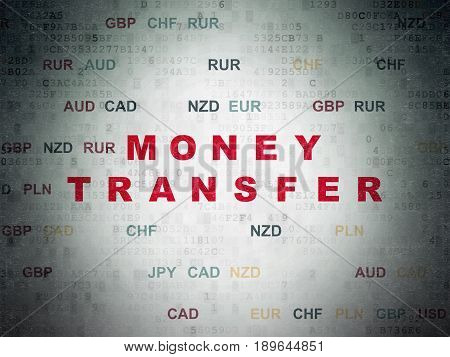 Money concept: Painted red text Money Transfer on Digital Data Paper background with Currency