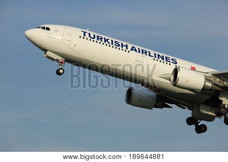 Amsterdam the Netherlands - June 2nd 2017: TC-JOE Turkish Airlines Airbus A330-300 taking off from Polderbaan Runway Amsterdam Airport Schiphol