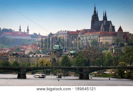 View of Prague Castle and Strakova Academy Prague Czech Republic