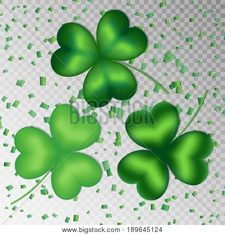 A set of clover leaves on a transparent background for a festive design for St. Patrick's Day