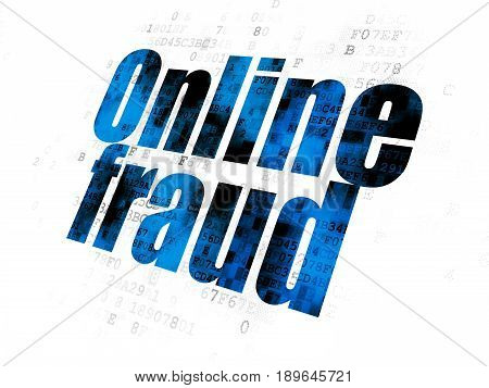 Security concept: Pixelated blue text Online Fraud on Digital background