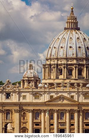 Detail View Of St Peters Basilica In Vatican City, Rome