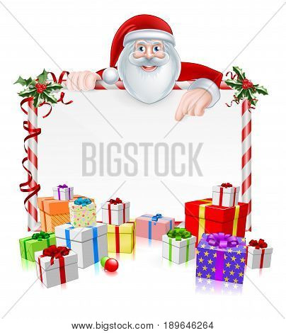 Santa Christmas Sign with cartoon Santa peeking over a sign with wrapped presents and Christmas holly