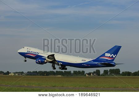 Amsterdam the Netherlands - June 2nd 2017: VQ-BVB Silk Way West Airlines Boeing 747 taking off from Polderbaan Runway Amsterdam Airport Schiphol
