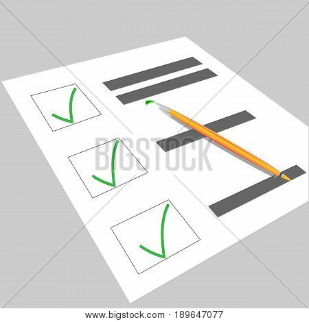 Test or questionnaire vector illustratation. Blank vector