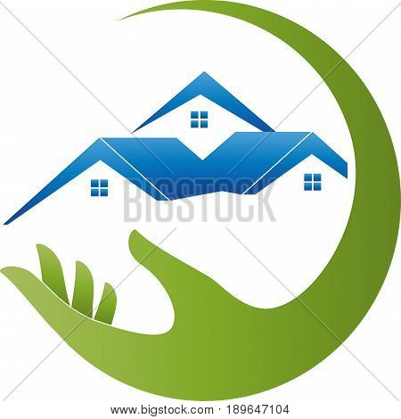 Hand and three houses, roofs, real estate and real estate broker logo