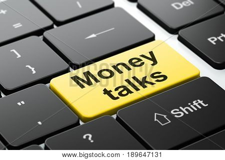 Business concept: computer keyboard with word Money Talks, selected focus on enter button background, 3D rendering
