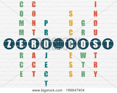 Finance concept: Painted blue word Zero cost in solving Crossword Puzzle