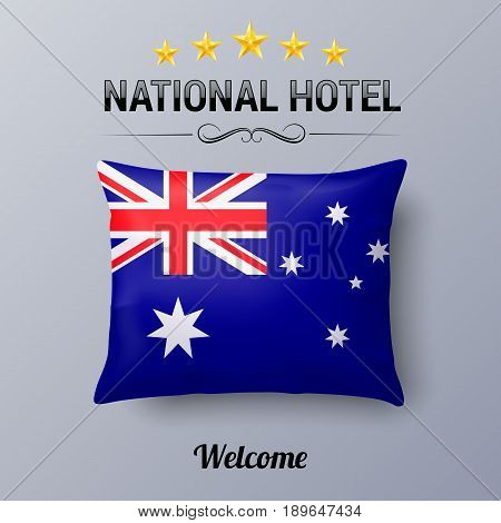 Realistic Pillow and Flag of Australia as Symbol National Hotel. Flag Pillow Cover with Australian flag