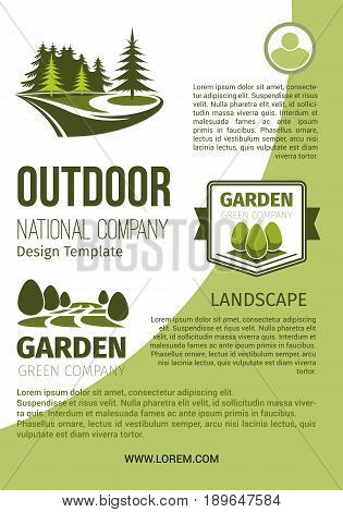 Outdoor green landscape and garden designing company and horticulture organization poster design template. Vector park or forest trees and woodlands greenery, eco parkland plants for gardening