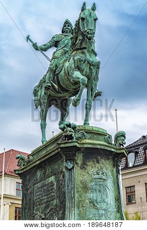 GOTHENBURG SWEDEN - MAY 13 2017: Photo of the equestrian statue of King Karl IX of Sweden in Gothenburg.
