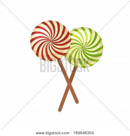 Sweet tasty crossed round lollipops of yellow color with red and green stripes on wooden sticks isolated vector illustration on white background. Delicious confectionary products cartoon picture.