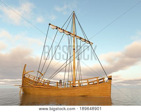 Computer generated 3D illustration with an ancient greek merchant ship