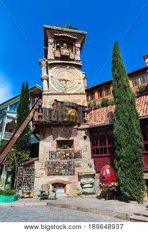 Tbilisi, Georgia - April 24, 2017: Falling tower at Marionette Theatre square in the center of Tbilisi, Georgia, Europe