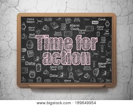 Time concept: Chalk Pink text Time for Action on School board background with  Hand Drawing Time Icons, 3D Rendering