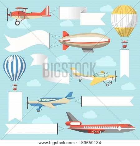 Flaying air advertising media vehicles and outdoor ad display constructions. Vector flat icons of billboard on aircraft or airplane, banner on airship and placard or flag signage on hot air balloon