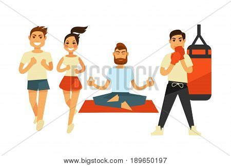 People fitness training and sport exercises. Vector flat icons of man boxing punching bag, sitting on yoga mat in gym, woman jogging or running