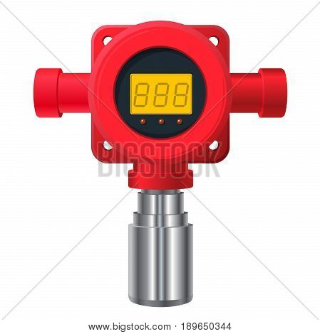 Vector gas detector. Red gas-meter with digital LCD display. Toxic sensor heater, adjustable values. Safety sensor detect poisoning with gas programmable alarm relays.
