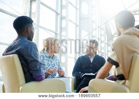 Group of economists having start-up meeting