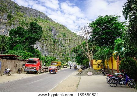 Street At El Nido Town In Palawan, Philippines