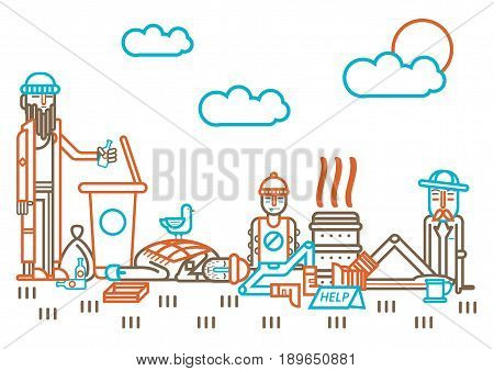 Homeless people flat line design. Beggars or bum vagrants looking for food in garbage bin, begging money alms, drinking alcohol bottle and sleeping outdoor on ground in poverty. Vector illustration
