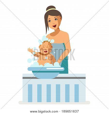Mother bathing or washing newborn child in bathtub or basin. Motherhood baby nursing vector flat illustration design