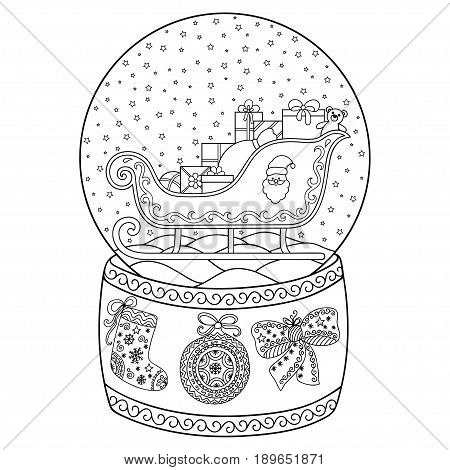 Toy glass snow globe with Santa sleigh. Coloring book page for adults and children. Winter decorative pattern - sleigh, Santa, gift, snow, bow, ball, stocking.