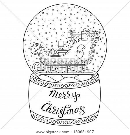 Toy glass snow globe with Santa sleigh. Lettering