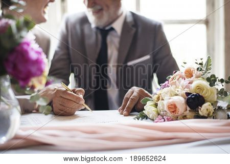Hand Signing Marriage License Certificate Wedding Ceremony