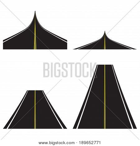 Asphalt road set. Highway template. Vector illustration of road.