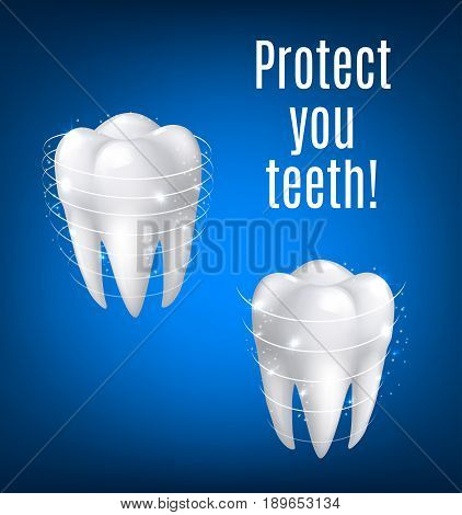Teeth protection poster of white tooth in 3D realistic vector isolated icon with protection sparkling lines. Tooth symbol for toothpaste or medical mouthwash treatment product or dentistry clinic